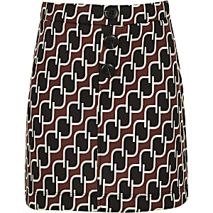 Girls navy geo print A line skirt