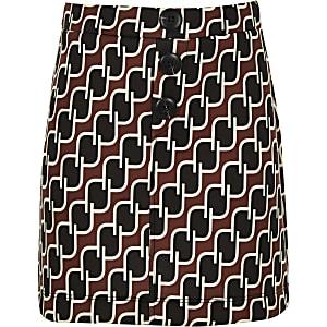Girls navy geo print A line skirt