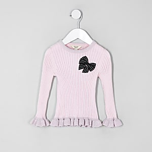 Mini girls pink bow frill sweater