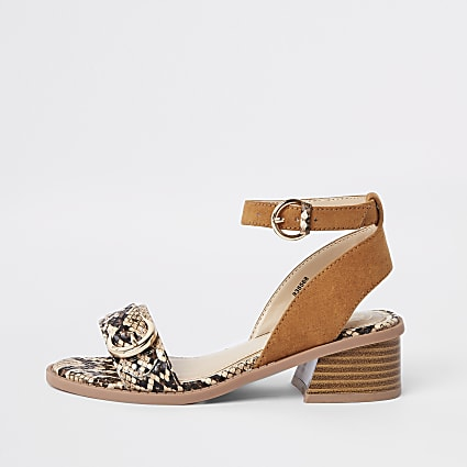 Girls light brown snake print sandal