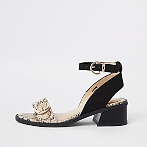 Girls black snake block heel sandals