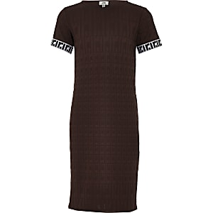 Robe mi-longue marron à monogramme RI pour fille