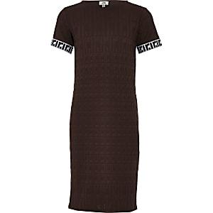 Bruine midi-jurk met RI-monogram voor meisjes