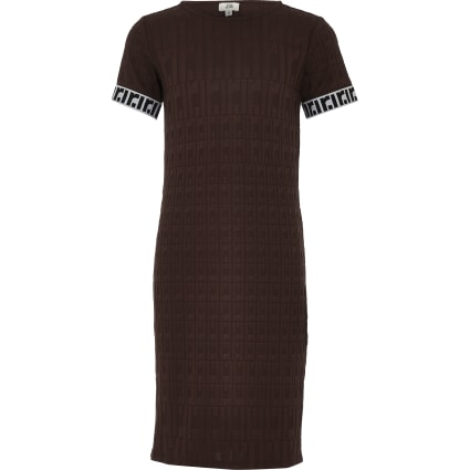Girls brown RI monogram midi dress