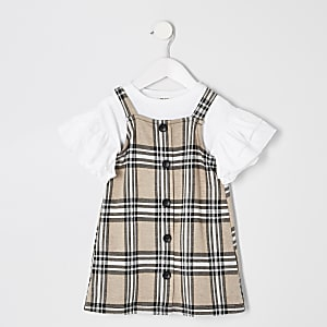Mini girls brown check pinafore outfit