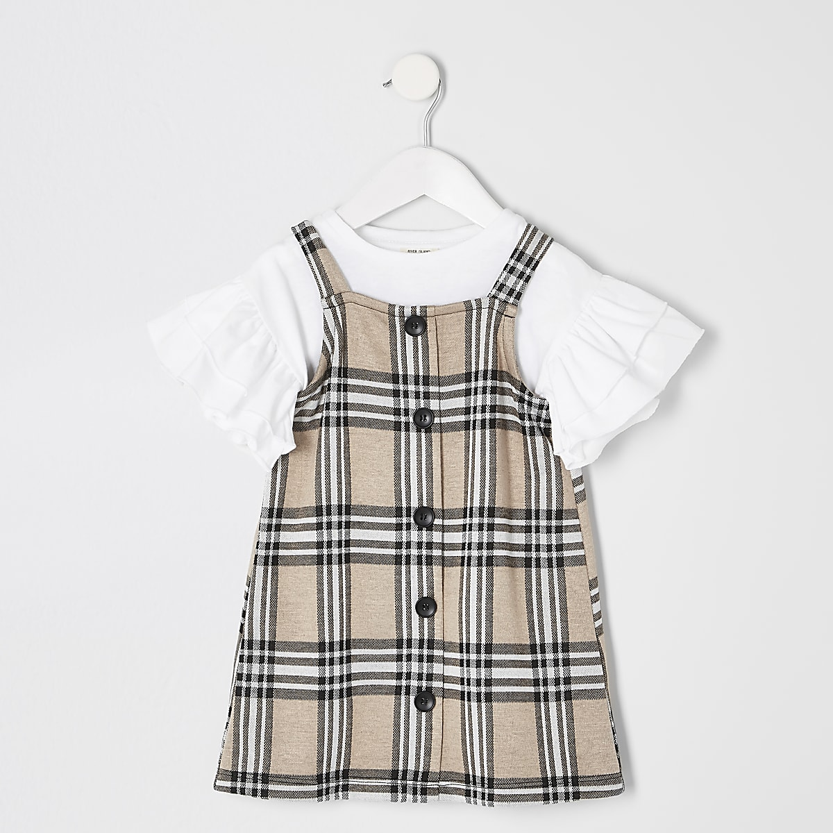 9a14d8ab0cf Mini girls brown check pinafore outfit - Baby Girls Dresses - Mini Girls -  girls