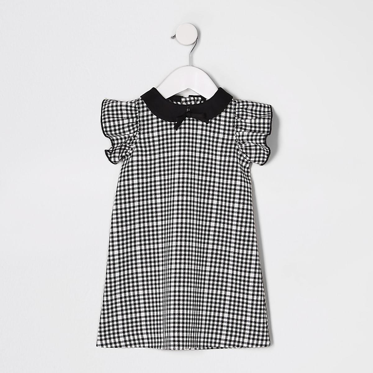 Mini girls black mono check shift dress