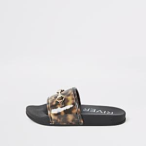 Bruine tortoise slipper voor meisjes