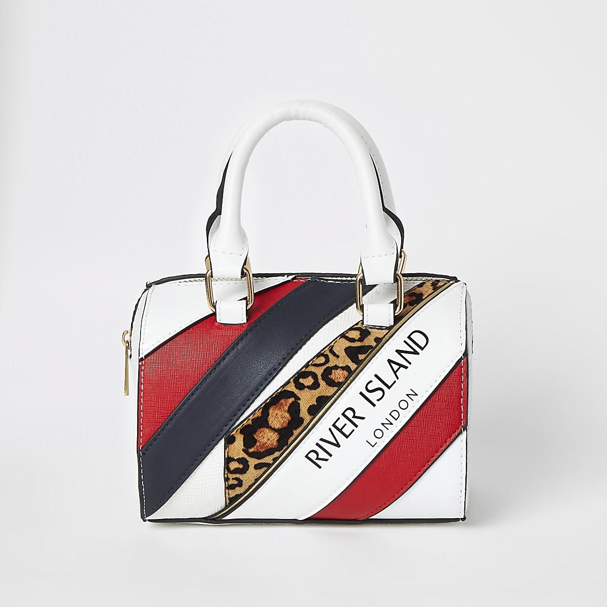 Girls red leopard print spliced bowler bag