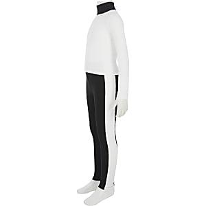 Outfit met witte top met RI-monogram voor meisjes