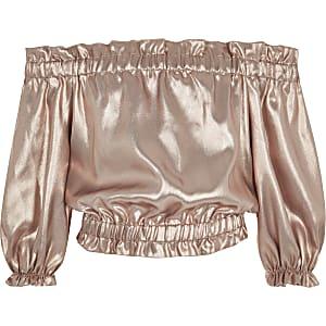 Roze metallic bardottop voor meisjes