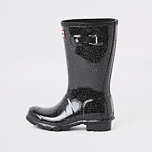 Kids Hunter Original black glitter wellies
