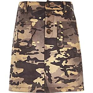 Jupe trapèze camouflage kaki pour fille