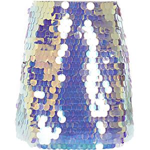 Jupe trapèze argentée ornée de sequins pour fille