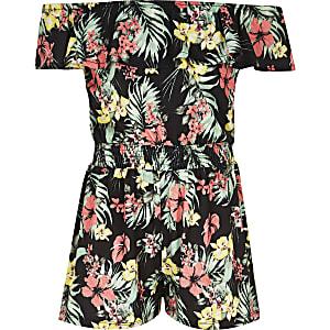 Schwarzer Overall mit Hawaii-Print