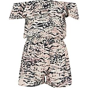 Combi-short Bardot à imprimé animal rose pour fille