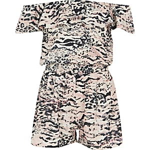 Roze bardotplaysuit met dierenprint voor meisjes