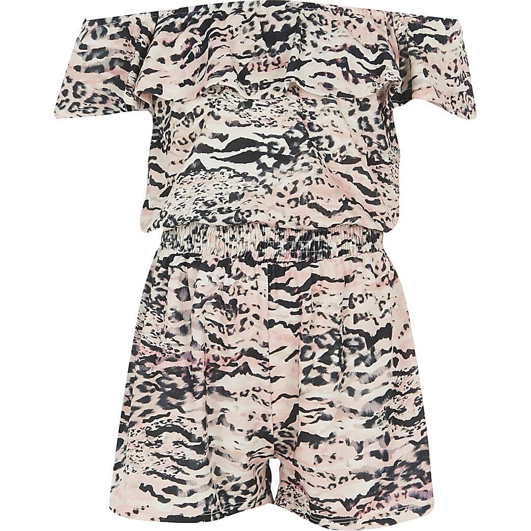 Girls pink animal print bardot playsuit