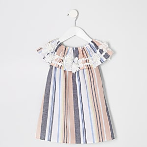 Mini girls pink stripe trapeze dress