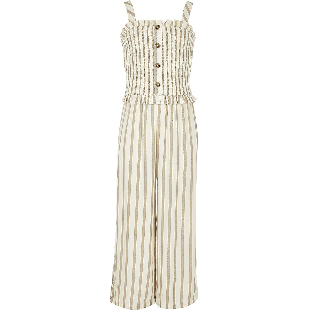 Girls beige stripe shirred jumpsuit