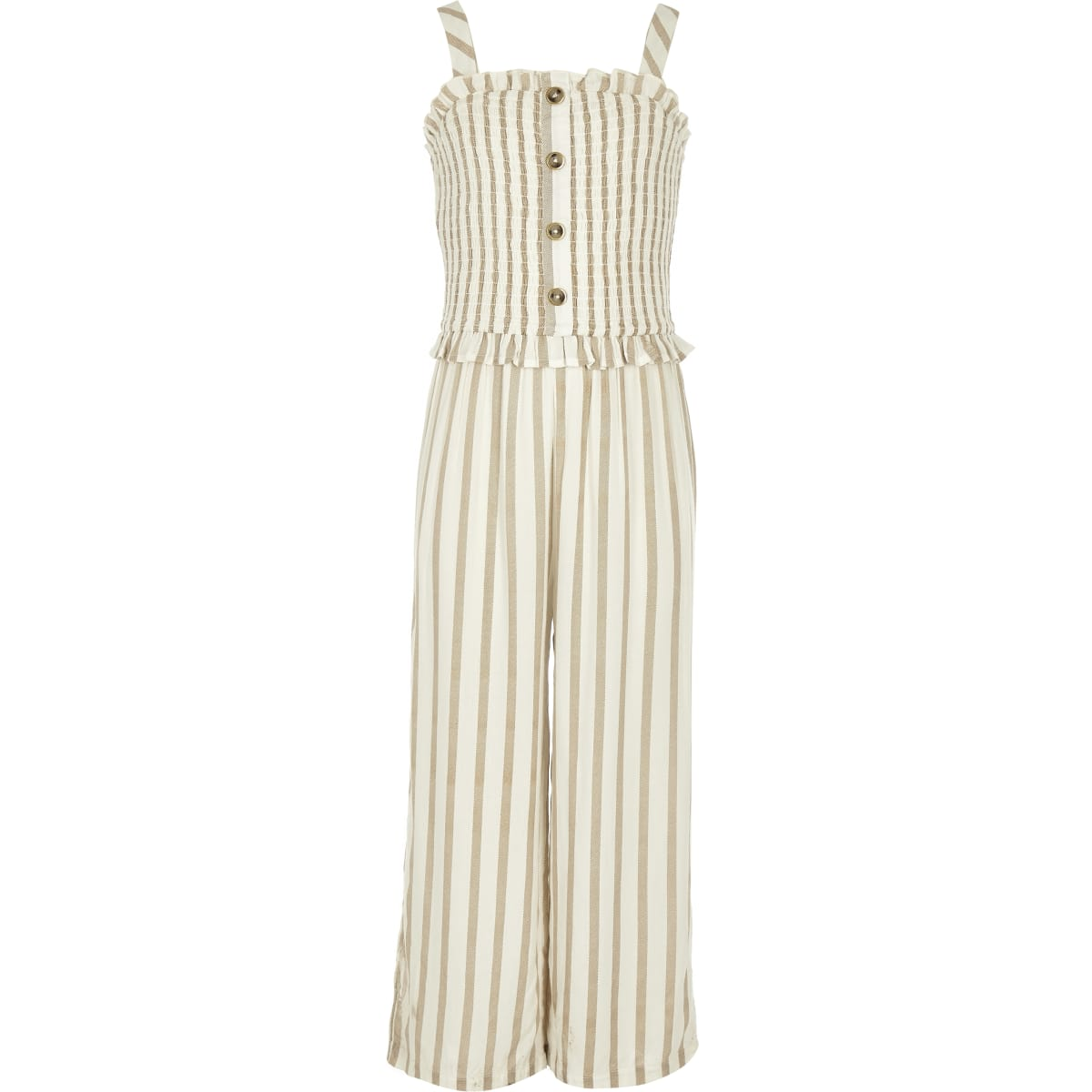 Girls beige stripe shirred jumpsuit