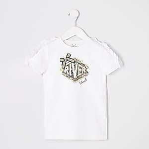 Robe t-shirt RI blanche à volants mini fille