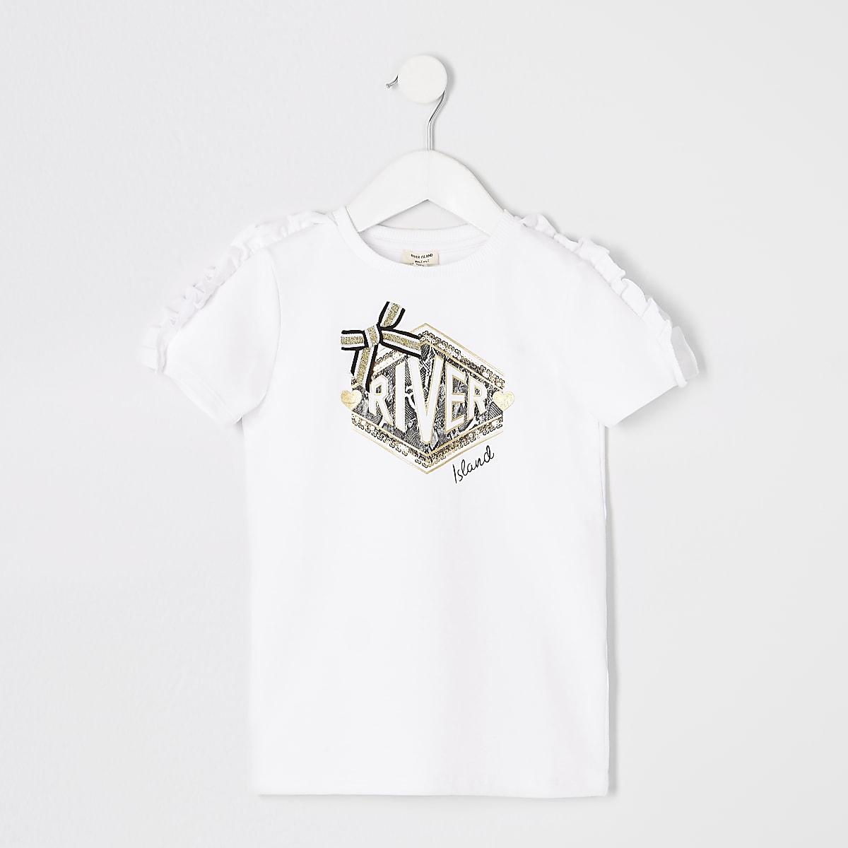 Mini girls white RI frill T-shirt dress