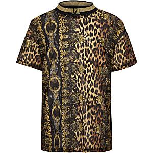 Bruin mesh T-shirt met barok- en luipaardprint voor meisjes