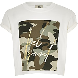 Wit T-shirt met 'Feel good'- en camouflageprint voor meisjes