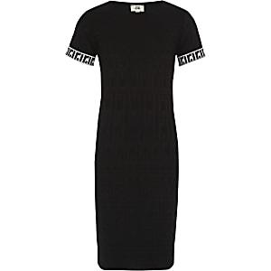 Zwarte jurk met RI-monogram voor meisjes