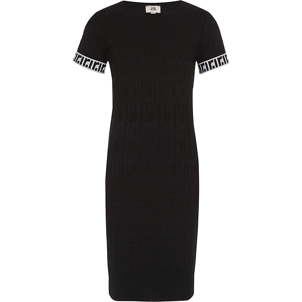 Girls black RI monogram dress
