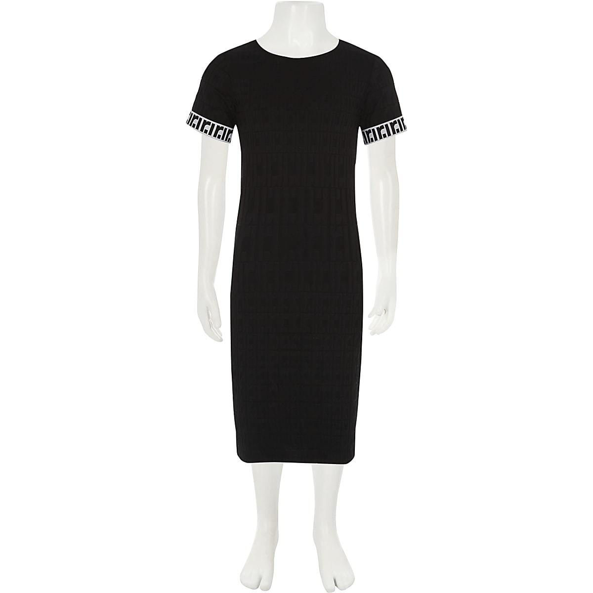 20e195be76855c Zwarte jurk met RI-monogram voor meisjes - Casual jurken - Jurken ...