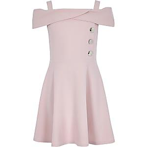 Girls pink scuba bardot dress