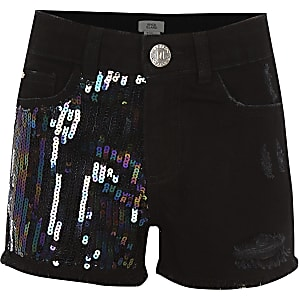 Girls black Becca sequin shorts