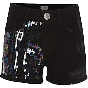 Becca – Schwarze, paillettenverzierte Shorts