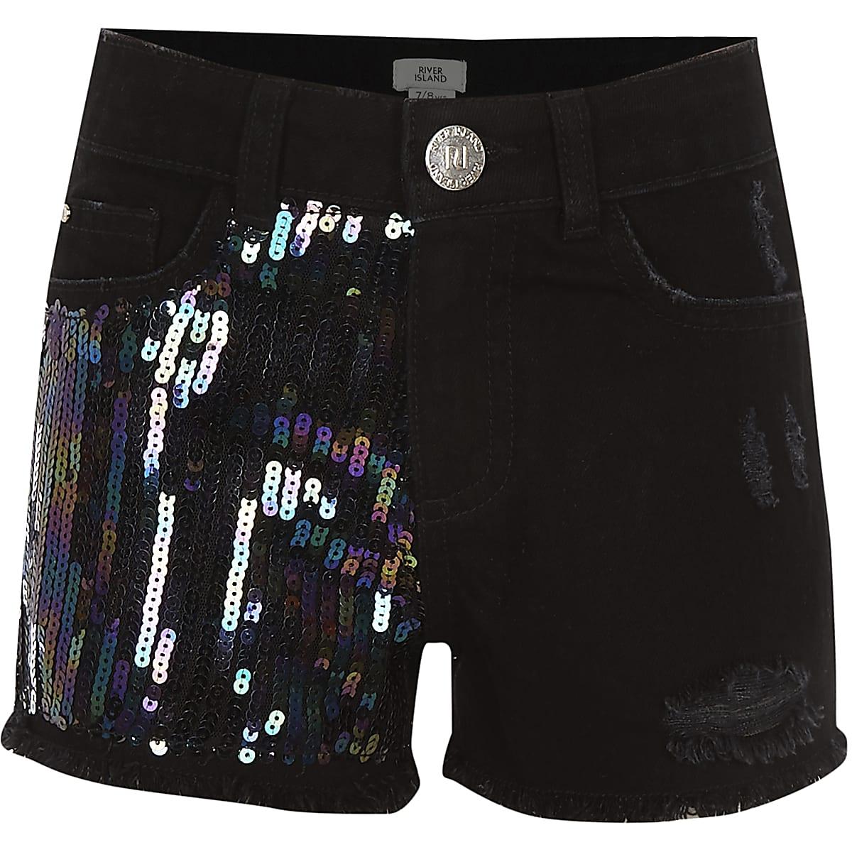 Girls black Becca sequin shorts