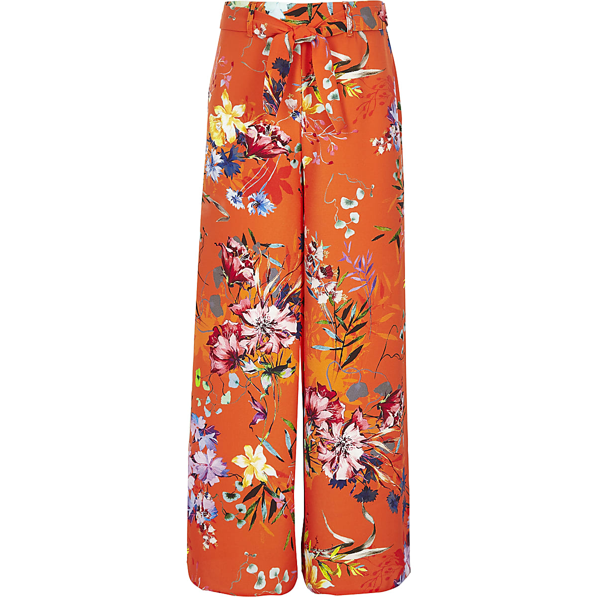 Girls orange floral wide leg pants