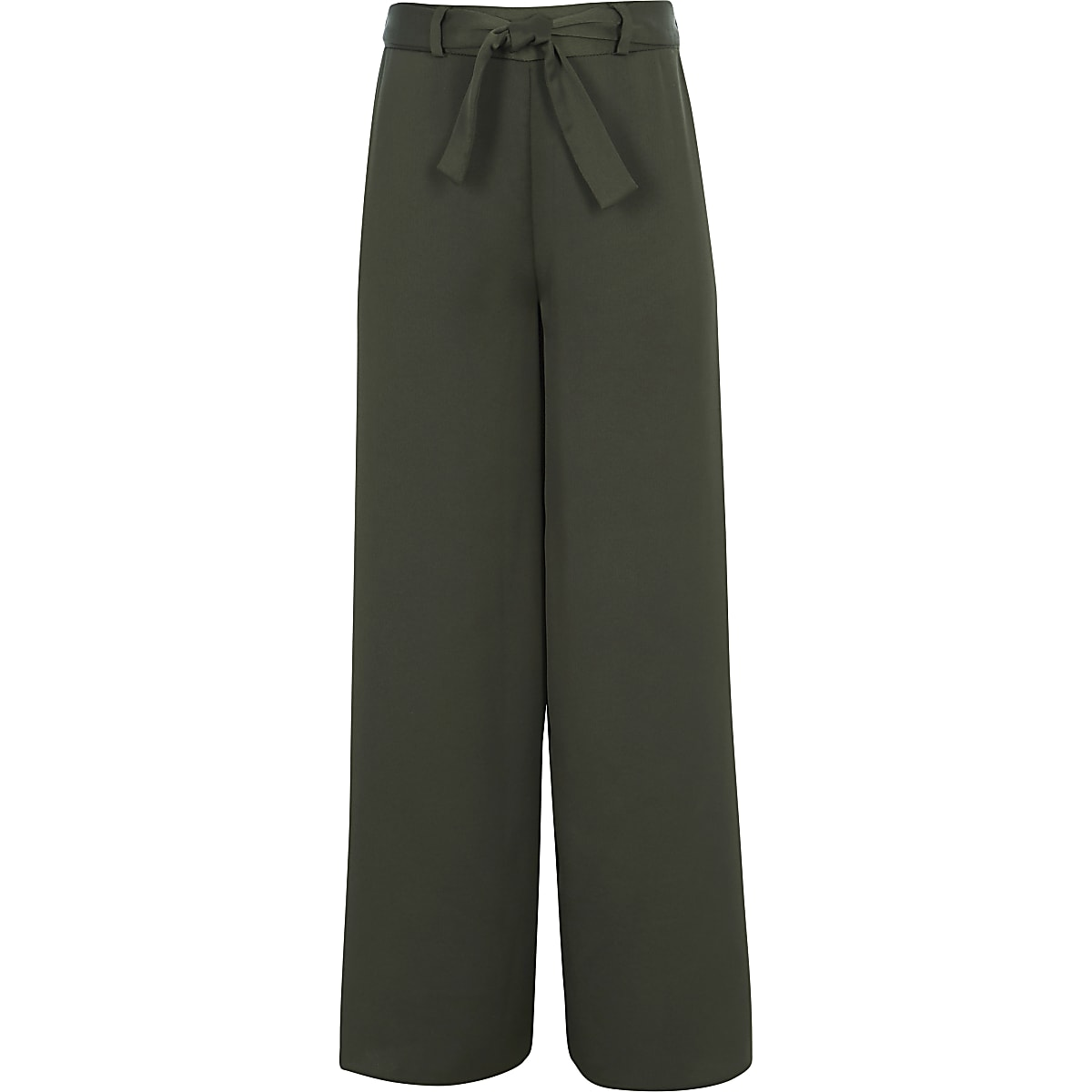 Girls khaki tie waist trousers