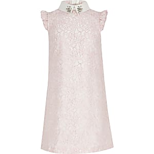 Girls pink lace prom dress