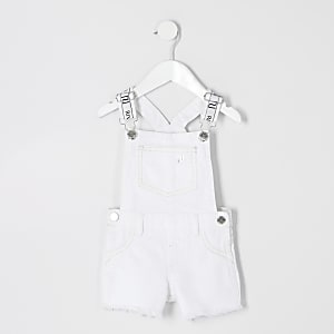 Mini girls white denim overalls