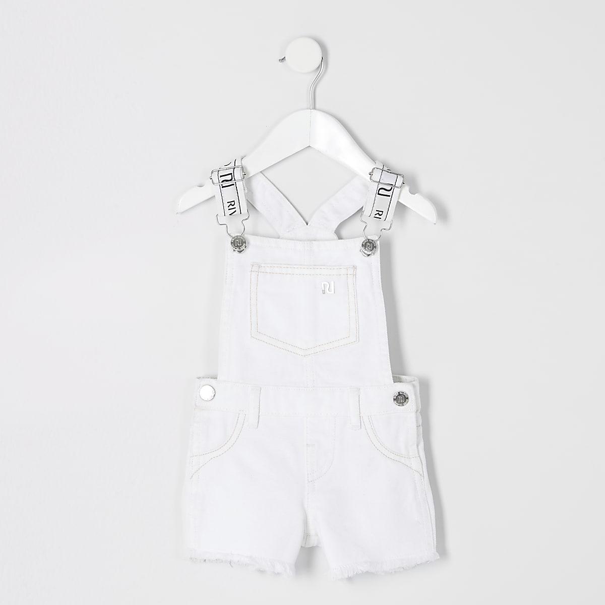 Mini girls white denim overalls