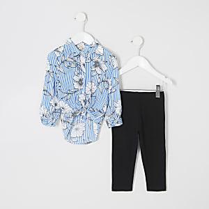 Ensemble avec chemise rayée à fleurs bleue pour mini fille