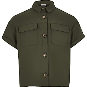 Girls khaki utility shirt