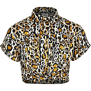 Girls brown leopard print utility shirt