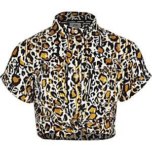 Chemise utilitaire marron à imprimé léopard pour fille
