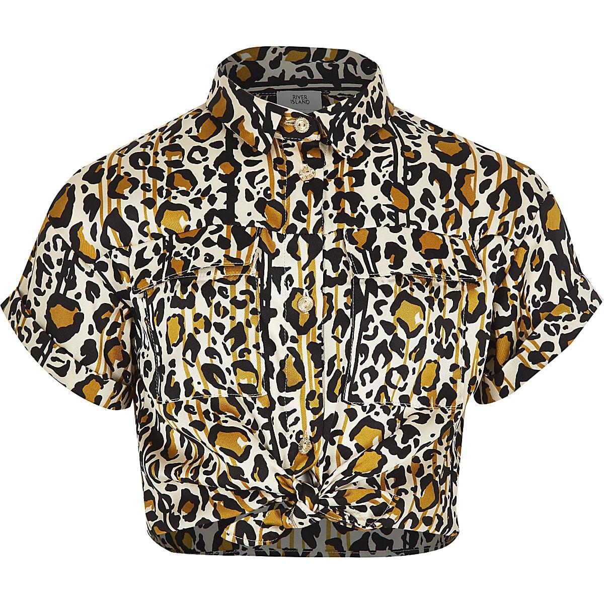 Girls brown leopard print utility shirt