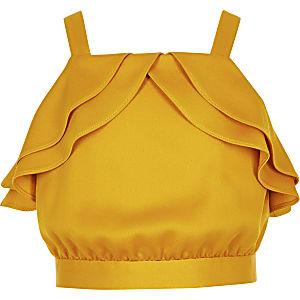 Crop top jaune à volant pour fille