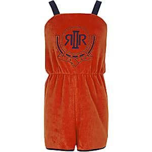 Oranje badstof playsuit met RI-logo voor meisjes