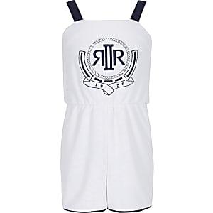Combi-short en tissu éponge blanc à logo RI pour fille