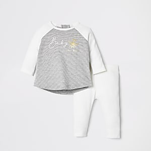 Baby cream rib 'baby bee' T-shirt outfit